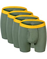 ZONBAILON Mens Underware Boxer Briefs, Mens Athletic Underwear 4 Pack Green