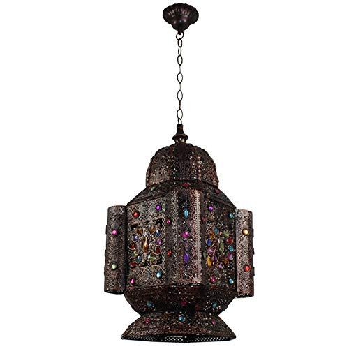 Pastoral Torre marroquí Colgante de Techo Luz Retro Jaula de Hierro Tallado Lámpara Colgante Sombra Acrílico Multicolor Joyas Cristal E15, Comedor Sala de Estar Dormitorio Decoración