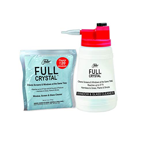 Full Crystal Kit - Bottle, Lid with Hose Attachment, and Two 4 oz. Crystal Powder Exterior Window Cleaner Packets for...