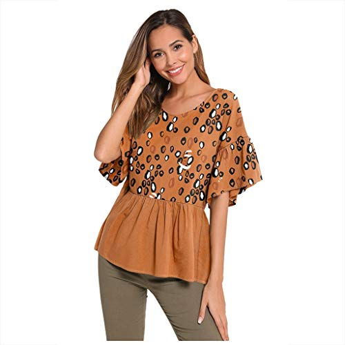 Find Bargain Women's Leopard Stripe Print Half Long Sleeve Shirt Top Ladies O-Neck Loose Blouse Brown