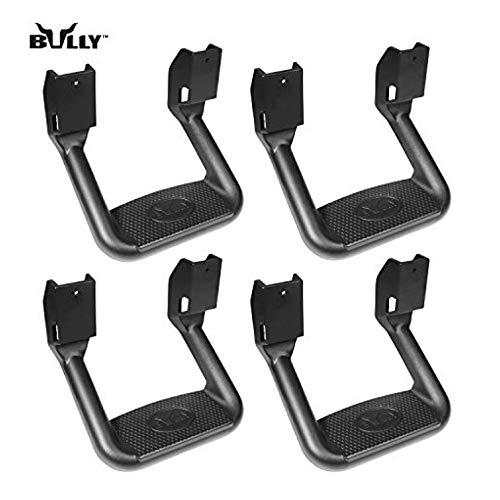 Bully BBS-1103-2 Universal Truck Black Powder Coated Side Step Set, 4 Pieces (2 Pairs), Includes Mounting Brackets - Fits Various Trucks from Chevy (Chevrolet), Ford, Toyota, GMC, Dodge RAM and Jeep