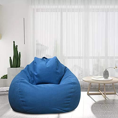 Funda de puf de pera sin relleno (100 x 120) para adultos y niños, gigante de tela, puf de salón, para sofá grande, sillón de salón para interior y exterior (azul)