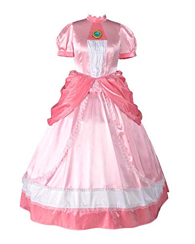 miccostumes Women's Plus Size Princess Peach Cosplay Costume Dress (1X/2X, Pink)