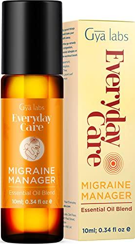 Gya Labs Migraine Relief Essential Oil Roll On - Pepparmint & Lavendel för huvudvärk Lindring och stressavlastning (10 ml) - 100% ren, naturlig & förspädd rulle på eteriska oljeblandningar för lokal användning