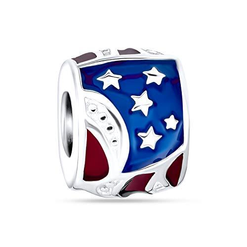 Patriotic American Flag USA Stars Stripes encanto cuenta para las mujeres para adolescentes 925 plata de ley se adapta a la pulsera europea