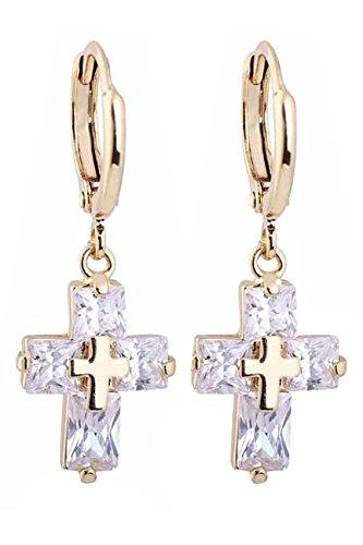 Pendientes con colgante de cruz - TOOGOO(R) Pendientes elegantes del perno prisionero de zirconia con colgante de cruz para mujeres oro
