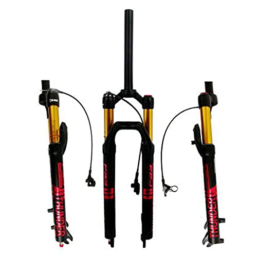 UPPVTE Magnesium Alloy Front Fork, 27.5/29inch Wire Control Straight Tube Aluminum Alloy Shock Absorber Fork Stroke 120mm For MTB Bike (Color : Black Red, Size : 27.5inch)