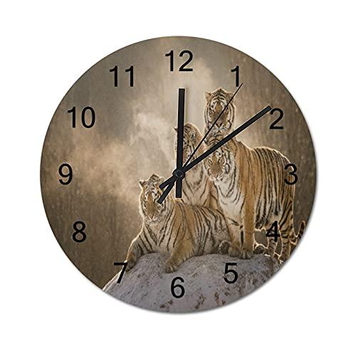 Reloj de Pared ,Grupo de Tigres de Rayas de Fauna d, Relojes de Pared Digitales de Madera Que no Hacen tictac, Funcionan con Pilas, decoración Sala de Estar, Dormitorio, Aula, Oficina (10 Pulgadas).