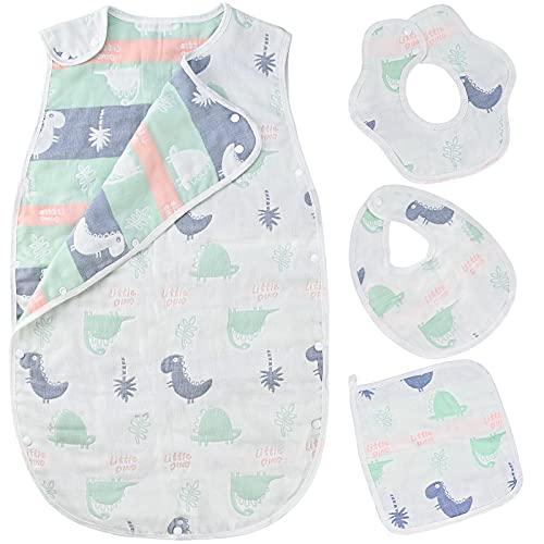 Cieex 4 Pcs Baby Schlafsack Set, Baby Ganzjahres Schlafsack aus 100% Baumwolle, 75cm, Waschbar Atmungsaktiv Baby Schlafsack mit 3 Lätzchen