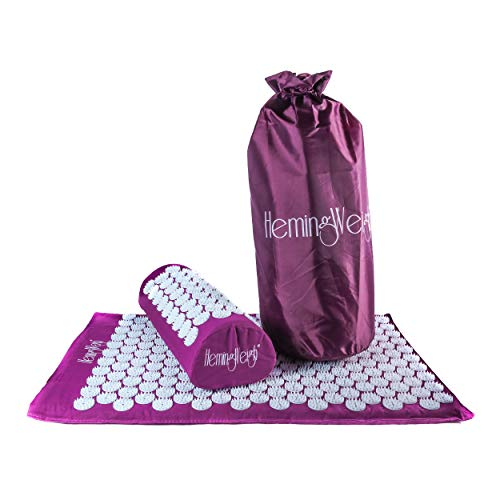 HemingWeigh Complete Acupressure Mat and Pillow Set with Carry Bag (Purple)