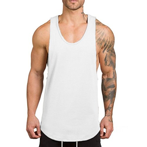 ZUEVI Men's Muscular Cut Open Sides Tank Tops Bodybuilding T-Shirts(White-L)