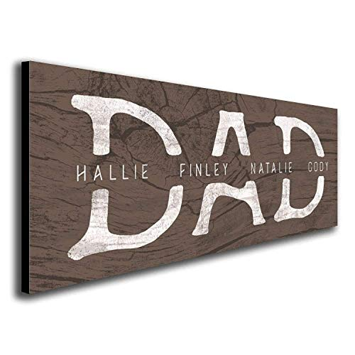 DAD & Children - Personalized Father's Day Sign (6.5'x18' Block Mount)