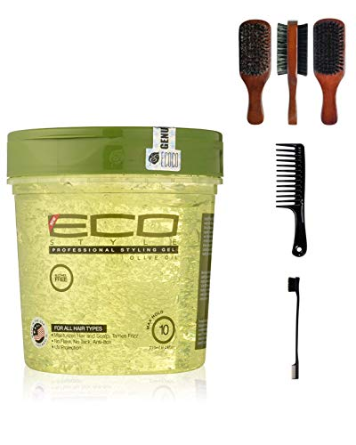 Price comparison product image Eco Style Olive Oil Gel 24 Ounce (Including Double Sided Edge Control Hair Brush,  Detangling Wide Tooth Comb Set & 100% Boar 2-Sided Club Brush) Eco Styling Gel with Olive Oil Hair Styling Kit