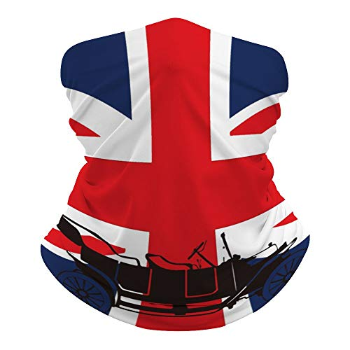TAMENGI Protection Half Face Bandanas Balaclava, Face Scarf Mask Silhouette On UK Flag Neck Gaiter, Windproof Face Mask