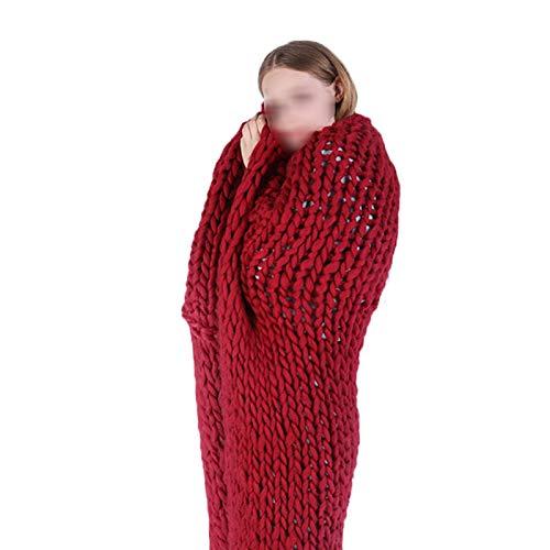 ZWDM Manta De Punto Gruesa Fibra De Poliéster Hilo Tejido Muy Grande De Punto Grueso para Mascotas Cama Sofá Silla (Color : Red, Size : 120x150cm)