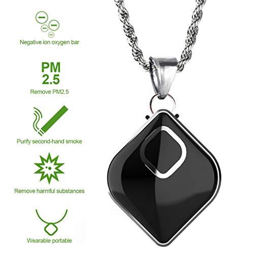 LTLJX Portatil Purificador de Aire Personal Viaje Collar Mini Ponible Generador de Iones Negativos Ruido Bajo Ambientador Eliminar Humo Polvo Alergias Formaldehído Olor per Niño y Adulto,Negro