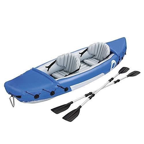 JIEJIE Kayak al Aire Libre Kayak Inflable del Barco de Pesca Barco Espesado del Bote del Barco de Goma Inflable Kayak (Color: Azul, Tamaño: 321x88cm) QIANGQIANG (Color : Blue, Size : 321x88cm)