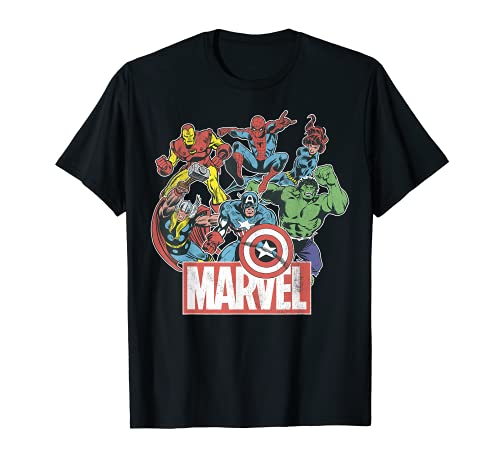 Marvel Avengers Team Retro Comic Vintage Graphic T-Shirt...