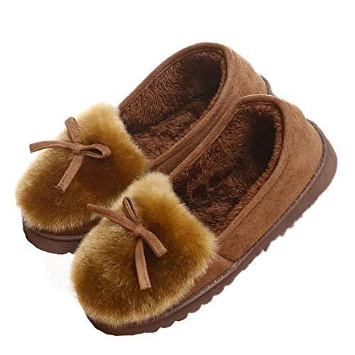 ZOBOLA Mujeres Faux Fur House Slippers Mocasines Señoras Transpirables Interior al Aire Libre Comfort Loafer Zapatos para Las Mujeres niñas (Color : Brown, Size : EU 39(US 8))
