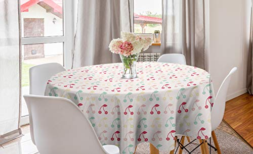 ABAKUHAUS Cerise Nappe Ronde, Art Fruit Symmetric été, Nappe en Cercle pour Salle à Manger ou Cuisine, 150 cm, Blanc et Multicolore