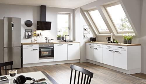 WALLERS cuisine complète 2x240 cm : Meubles 19mm + Plans de travail 3,8cm prédécoupé + Four + hotte + Lave vaisselle + Plaque de cuisson 4 foyers + évier + Mitigeur