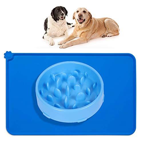 Alfombrilla de Silicona para Comederos de Perros y Gatos, 48x30cm Tapete Comer Antideslizante Compatible y Comedero Perro Gato alimentador Tazon, Azul