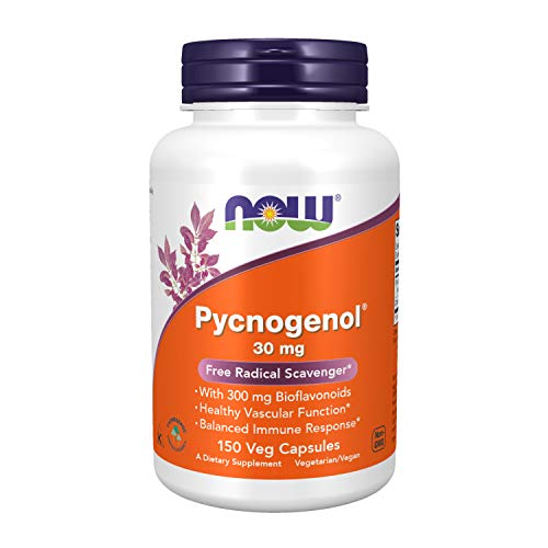 NOW Supplements, Pycnogenol 30 mg (a Unique Combination of Proanthocyanidins from French Maritime Pine) with 300 mg Bioflavonoids, 150 Veg Capsules