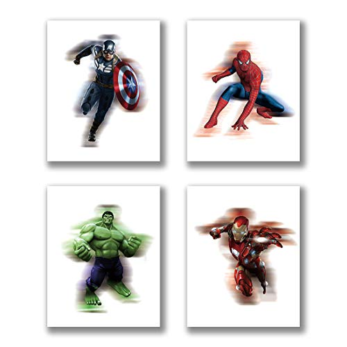 "Cartoons Superhero Avengers Marvel Art Prints Set of 4 (8""X10""Canvas Picture) Watercolor Captain America Hulk and Spiderman Art Painting Used for Nursery Wall Poster Kids Boys Birthday Gift Frameless"