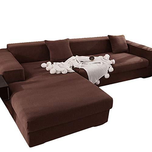 ABUKJM Sofabezug l Form ecksofa 2sitzer + 2sitzer,Sofaüberwurf ecksofa,All-Inclusive staubdicht Anti Haustier Haare,for Wohnzimmer beschützersofa Couch überwurf,Dunkler Kaffee