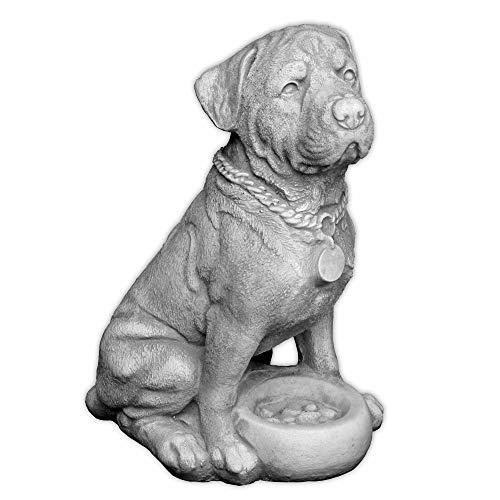 gartendekoparadies.de Massive Steinfigur Rottweiler Hund Gartenfigur Steinguss frostfest