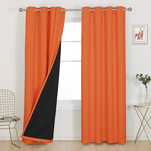 Deconovo 100% Blackout Curtains 84 Inches Long Set of 2 Total Block Out Shades Thermal Insulated Noise Reducing Grommet Window Drapes for Living Room Bedroom, 2 Panels, Each 52x84 Inch, Orange