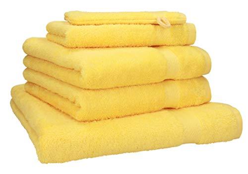 Juego de 5 toallas amarillas 100% algodón