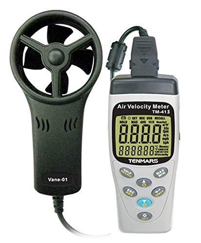 RENJIFAN Digitales de mano de velocidad del aire metro de la temperatura Tester probador de la humedad Registrador de datos TM413