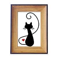 猫のにゃー心の明るい赤色の動物 フォトフレーム、デスクトップ、木製