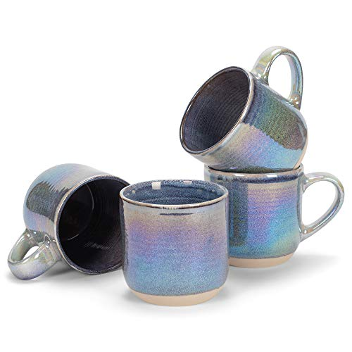 Purple Glossy Rainbow Glaze 17 ounce Stoneware Coffee Cup Mugs Set of 4
