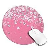 団子dadabuliu マウスパッド 円柄 さくら 桜柄 グラデーション ピンク 花見 葉書 ゲーミングマウスパッド ゴム底 光学マウス対応 滑り止め 耐久性が良い おしゃれ かわいい 防水 オフィス最適 適度な表面摩擦 直径:20cm