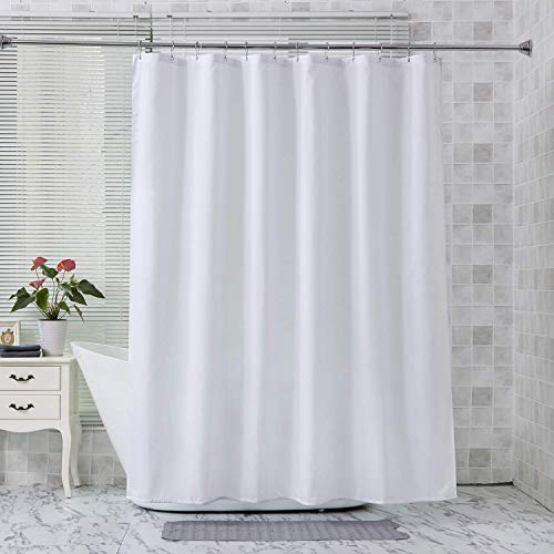 Amazer Long Fabric Shower Curtain Liner, White Polyester Fabric Shower Curtain Liners Bathroom Shower Curtains, Water Proof, Hotel Quality, 72 x 78 Inches