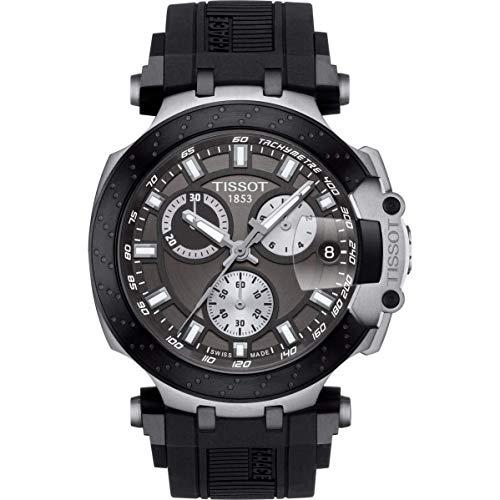Tissot mens T-Race Chrono Quartz Stainless Steel Casual Watch Black T1154172706100