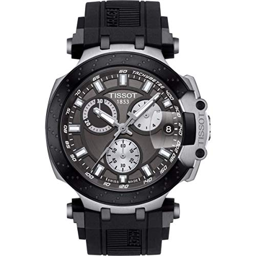 Tissot mens T-Race Chrono Quartz Stainless Steel Casual Watch Black T1154172706100