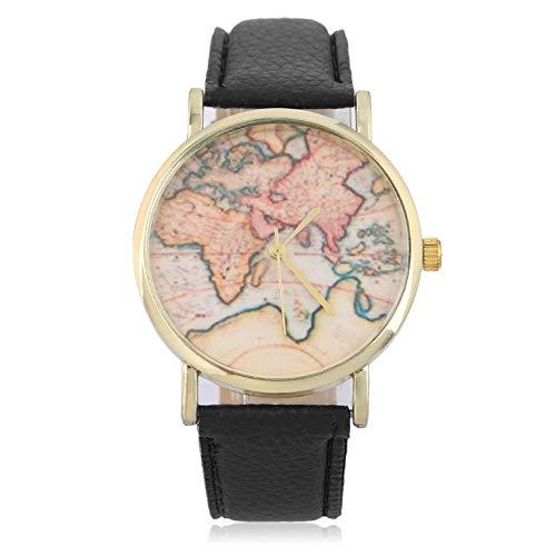 Neue hochwertige mode stilvolle frauen genf globus weltkarte uhr genf uhren frauen kleid uhren quarz armbanduhr - schwarz