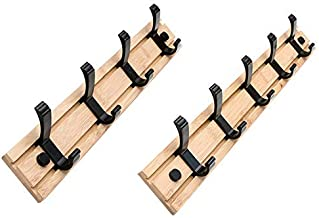 YWH-WH Wall Decoration 2Pcs Coat Rack Clothes Hanger Hooks Living Room Closet Wooden Hat Racks Coat Hanger Wall Hook