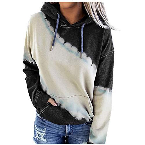 Otoño e Invierno señoras Tops Moda Tie-Dye impresión de Manga Larga con cordón con Capucha Deportes Casual suéter Camiseta Small