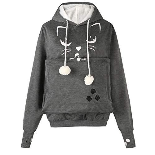 LUCKGXY Mewgaroo Holder Sweatshirt, Känguru Pouch Carriers Hoodie Cute Pet Long Sleeve Pullover für Katzenhund und andere kleine Tiere,Darkgray,S