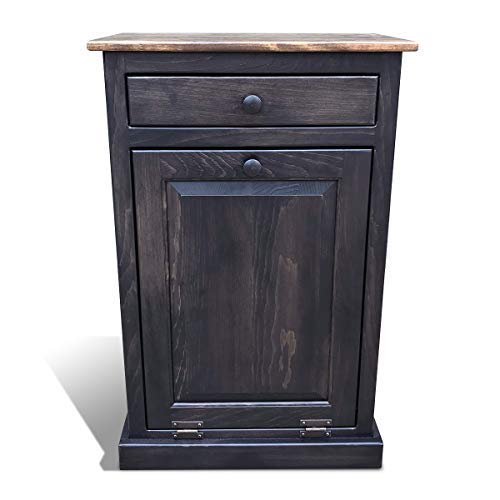 Peaceful Classics Amish Wooden Pull Out Trash Can Cabinet, Handmade Solid Wood Hideaway Trash Holder) (Mocha)