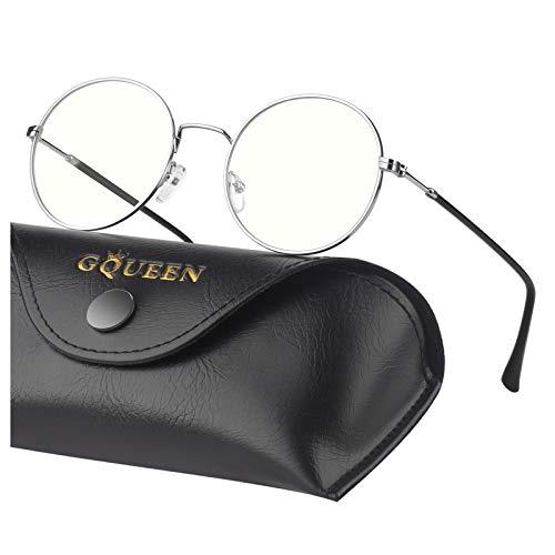 GQUEEN Occhiali Filtro Luce Blu per Computer Anti Bagliore e Anti Affaticamento degli Occhi, con Cornice Rotonda in Metallo Retro, GQ40