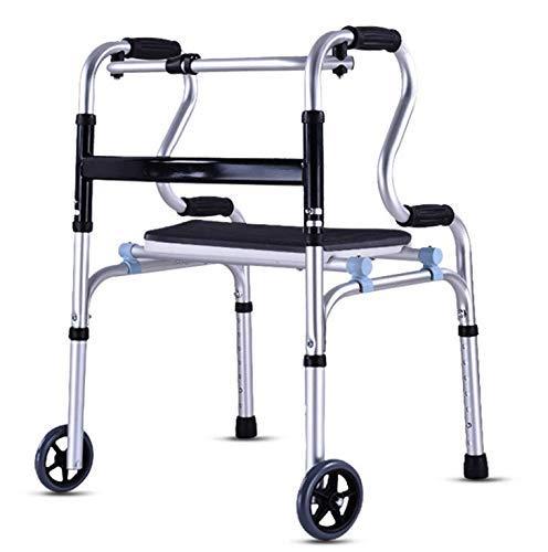 YAMEIJIA in hoogte verstelbare walker met zitaandrijving Medical Aluminium Rollator Walker opklapbaar en verwijderbare rugleuning, gevoerde zitting, 6 inch wielen