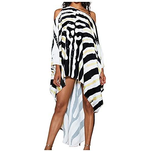 BaoDan Chiffon Bluse Sheer Bikini Cover Up Beach Cardigan Long Beach Towel Women's T-Shirt Lightweight Boho Dress Kimono Damen Lang Oversized T-Shirt Robe Damen Lang Damen Kleider Sommer Ink Small