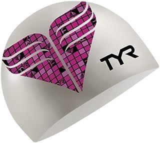 TYR Check Gorro de Silicona para natación, Color Rosa Fluorescente