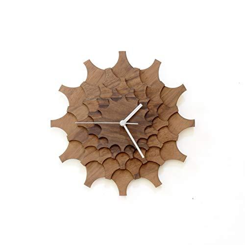 Rueda dentada nuez - 29 cm reloj de pared artesanal de madera oscura
