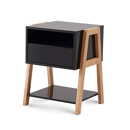 TAOHFE Nightstands Black, Bedside Table with Drawer, Storage Shelves
